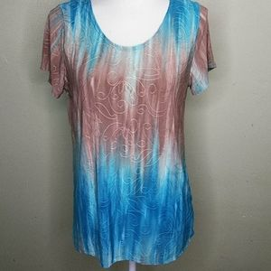 Slinky Knit Embossed Fabric Top by Agenda L NWT